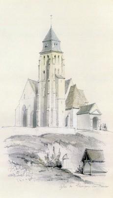 Dessin de l'église de Thorigny par Victor Petit