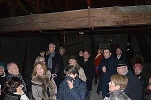 le groupe dans la charpente de la cathédrale