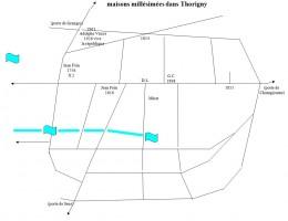 Carte des maisons millésimées de Thorigny